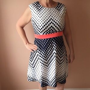 Studio one checkered fit/ flare black/peach dress